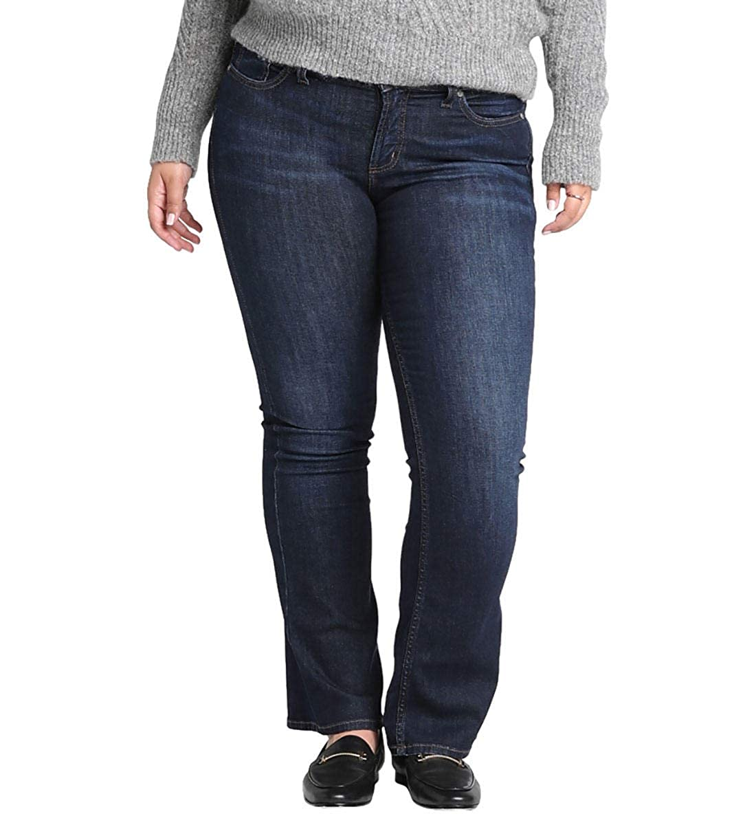 Classic Dark Wash Silver Jeans Co. Womens Plus Size Suki Curvy Fit Mid Rise Slim Bootcut Jeans Jeans