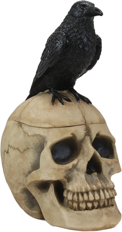 Ebros Bad Omens Gothic Raven Crow Perching On Graveyard Skull Decorative Jewelry Box Macabre Halloween Ossuary Themed Trinket Secret Stash Box Accent Statue