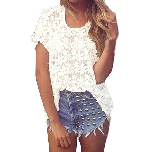 Camisa corta de las mangas de la mujer, tapas populares ocasionales del cordón de la blusa de Yanner...