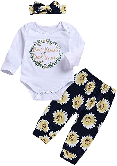 Vinjeely 4pcs Baby Girls Clothes Heart Letter Print Romper+Flower Pants+Hat+Headband Outfits