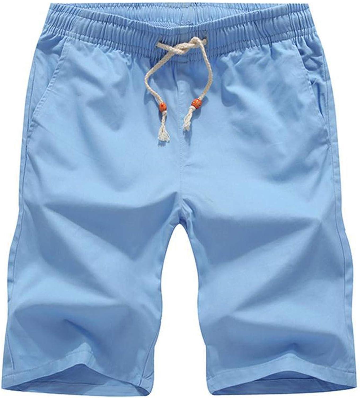 2019 Men Casual Beach Shorts Homme Bottoms Elastic Waist Boardshorts Plus Size 5XL,Sky Blue,4XL