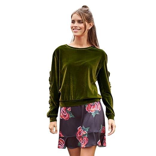 260fbc282d4fe Goddessvan Women s Long Sleeve Velvet Shirt Solid Ruffles Casual Blouse Tops  T-Shirt (S