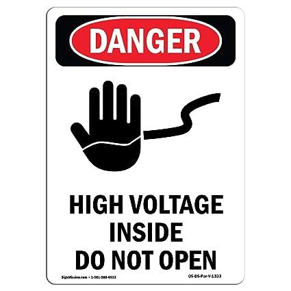 Señal de Osha Danger, de alta tensión en el interior no ...