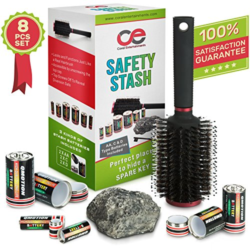 Battery Secret Stash, Hairbrush & Rock Diversion Safe Set By Coral Entertainments. AA, C & D Type Battery Pill Boxes - Ideal For Safely Hiding Money & Jewelry, Home, Car & Outdoors Secret Containers