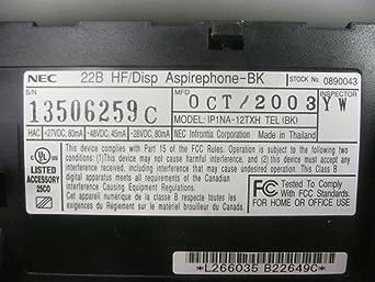 NEC Phone 22B HF//Disp Aspirephone-BK Pre-Owned