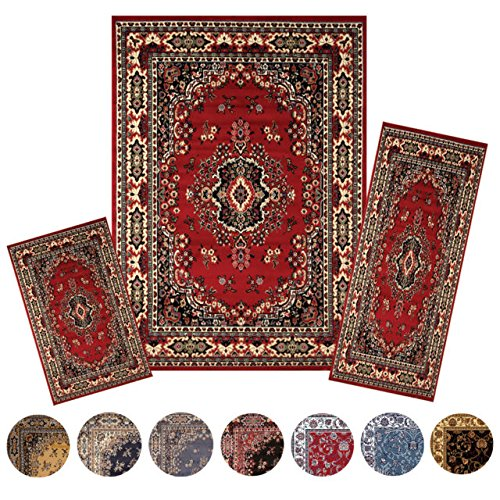 Traditional Medallion Persian 3 Pcs Area Rug Oriental Bordered Runner Mat - Macy's Queens Center