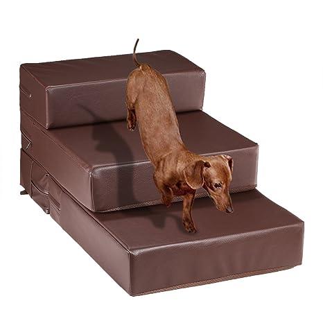Escaleras para mascotas portátiles 2 o 3 pasos para perro gato piel sintética con base acolchada