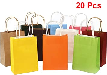 Clerfy Acc 20 Pcs Bolsas Papel Kraft Multicolor con Asas ...