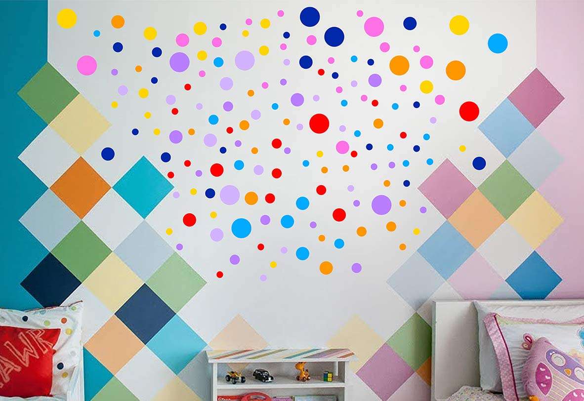 IGNIXIA Polka Dot Wall Decals (160 pcs)- Easy to Peel and Stick Circle Stickers for Kids Living Room, Bedroom Wall Décor- Removable Vinyl Wall Stickers Dots Wall Decals- Baby Room Decoration