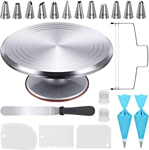 Kootek 22 Pcs Cake Decorating Kit with 12 Inch Aluminum Alloy Revolving Cake Turntable, Cake Leveler, Icing Spatula, 12 Numbered Piping Tips, 2 Silicone Pastry Bags, 2 Couplers, 3 Icing Smoother