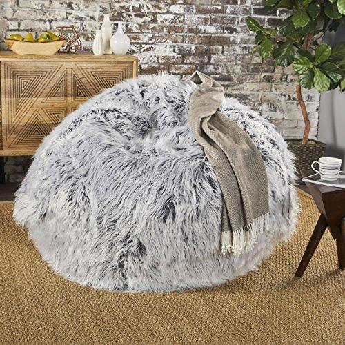 Lycus Faux Fur Bean Bag Chair (Silver Grey) from GDF Studio