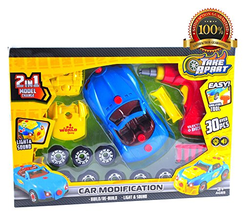 Kids Take Apart Toy Racing Car, Build It Toys for Boys and Girls, 30 Pieces Pull Apart Kit for Toddlers with Electric Drill Tool Screwdriver and Real Sounds and Lights, With Storage Bags, & (Convertible Rechargeable Handle)