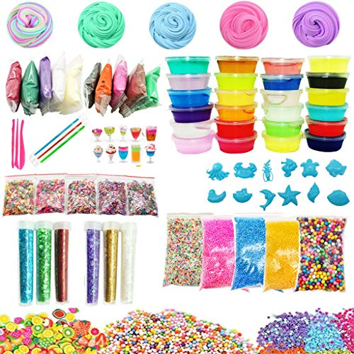 Fenebort DIY Slime Kit Supplies Clear Crystal Slime Making Kit for Girls Floam Slime Including Sugar Paper, Sheet Jar, Slime Balls, Sequin, Fishbowl Bead,Fruit/Flower/Cake Slices (A)