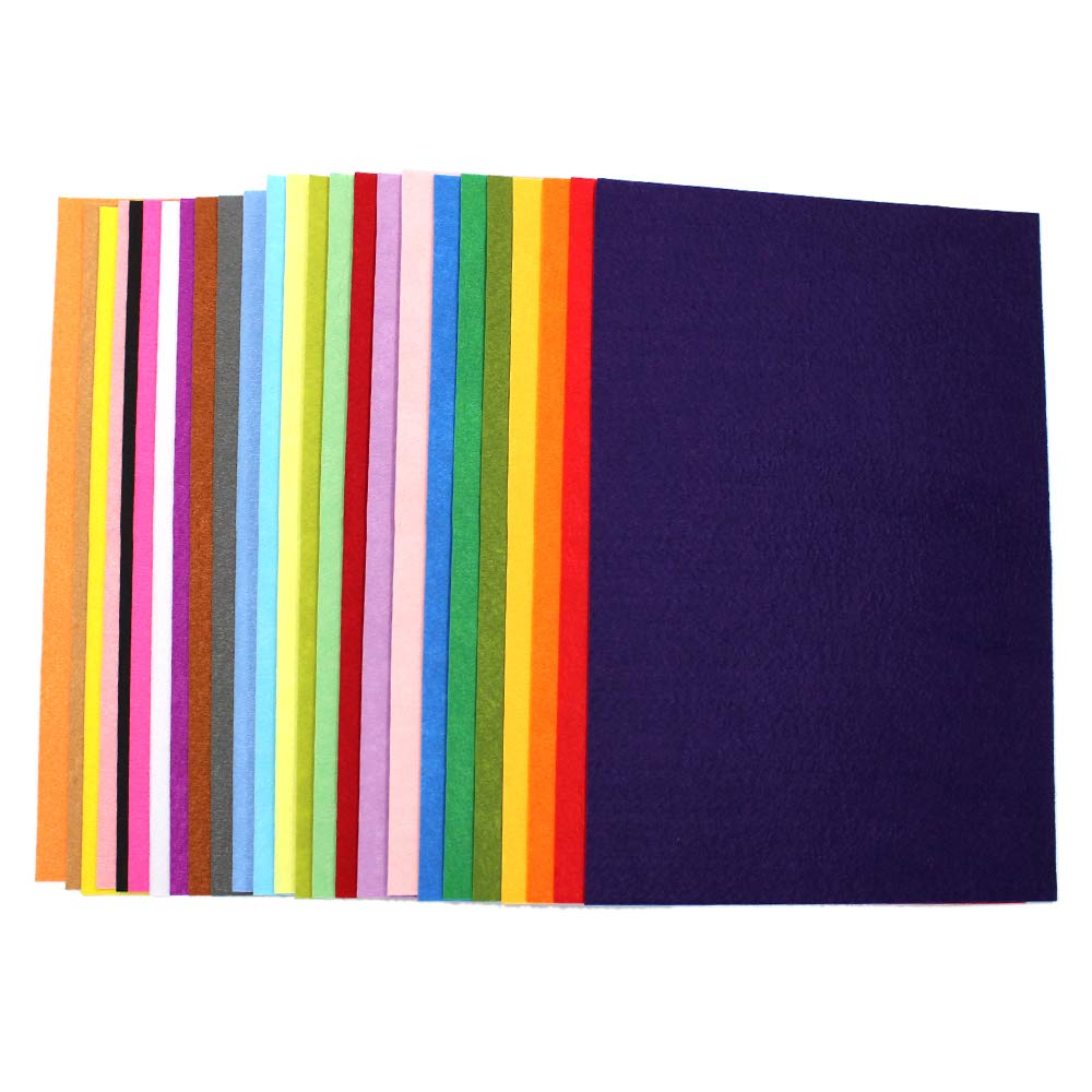 25 Pack - Self Adhesive Backing - 8x12 Crafting Felt Fabric - 25 Colors - 1mm Thick Sheets Md trade