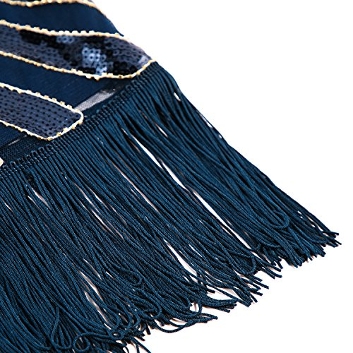 Cocktail Embellished Cocktail Party Classic Navy Women's Gatsby Long Fringe Metme Beaded Party 1920s Dress for XxzpfwqfPC