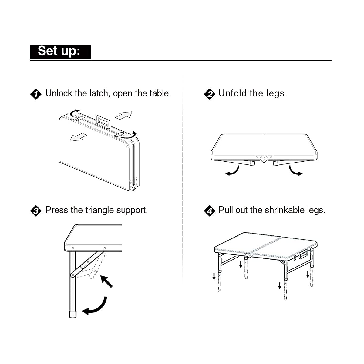 """REDCAMP Outdoor Picnic Table Adjustable, Folding Camping Table with 4 Chairs, Aluminum White 47.2""""x23.6""""x27"""""""