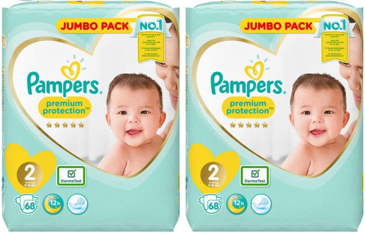 Size 2 2 x 68 Pack Pampers New Baby Nappies Jumbo Pack