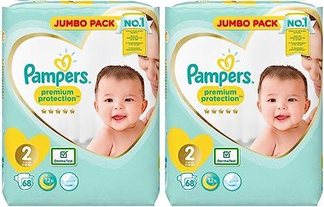 Pampers Pañales New Baby Jumbo Pack, tamaño 2, 2 x 68 unidades): Amazon.es: Bebé