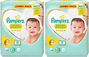 Pampers Pañales New Baby Jumbo Pack, tamaño 2, 2 x 68 unidades ...