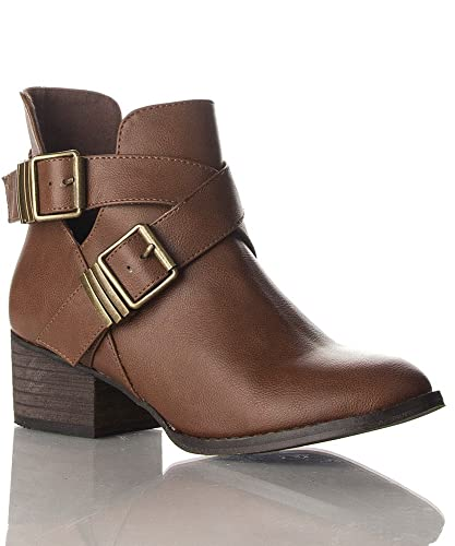 Breckelle Bronco-11 Vegan Leather Strappy Closed Toe Cut Out Buckle Ankle Booties