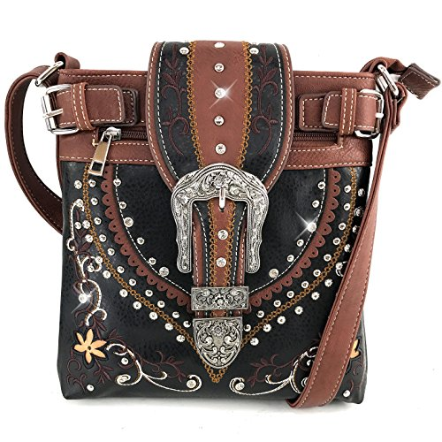 Justin West Western Concealed Carry Tooled Leather Laser Cut Buckle Embroidery Messenger Cross Body Handbag Purse (Brown ()