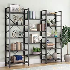 Tribesigns Triple Wide 5-Shelf Bookcase, Etagere Large Open Bookshelf Vintage Industrial Style Shelves Wood and Metal bookcases Furniture for Home & Office, All Black