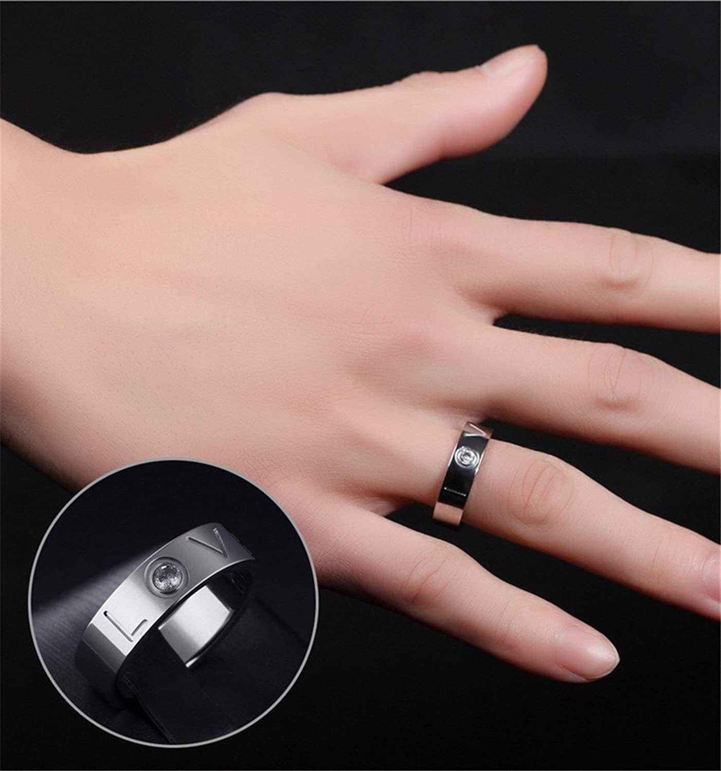 Amazon.com: PAMTIER Stainless Steel CZ LOVE Engagement Promise Ring ...