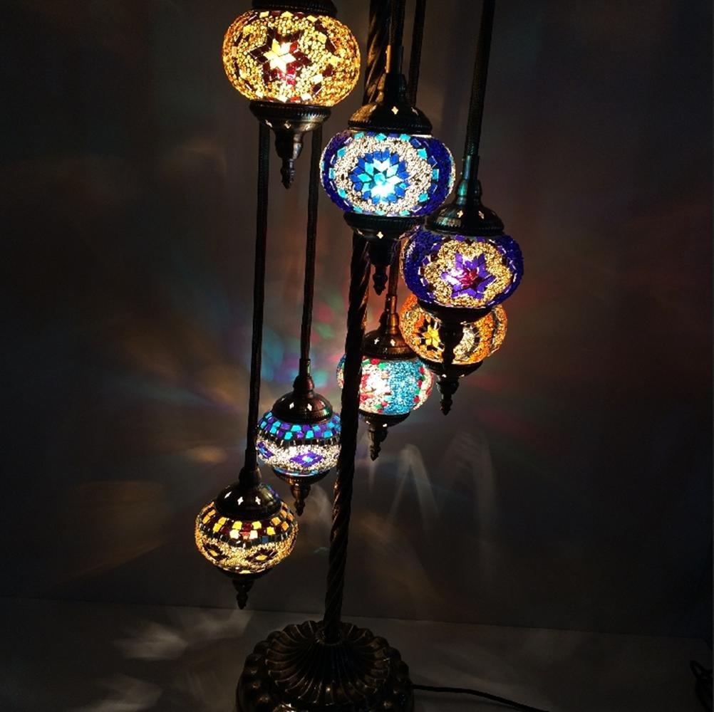 JUNMIN E14 LED Lampe Östliches Mittelmeer Stil hohe Höhle Wohnzimmer Schlafzimmer Dekor handgefertigten Mosaik Glas sieben Kopf Stehleuchte , D