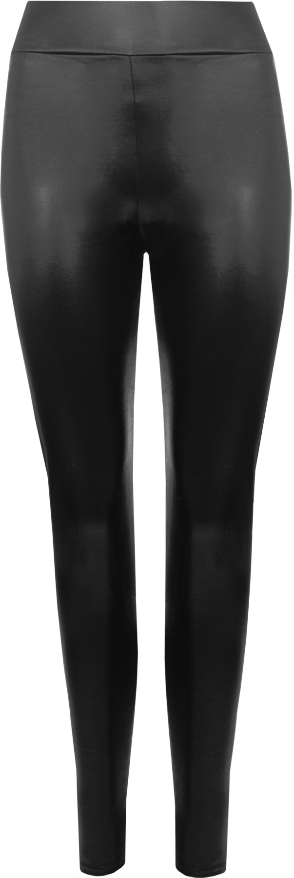 WearAll Women's Plus Full Length Shiny Wet Look Stretch Zip Leggings - Black - US 12-14 (UK 16-18)