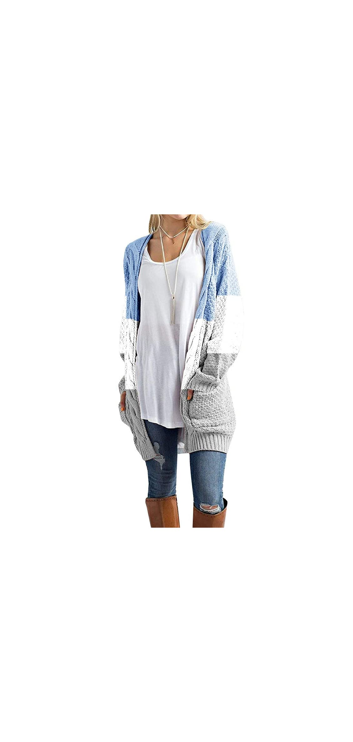Womens Long Cardigan Sweaters Oversized Striped Color