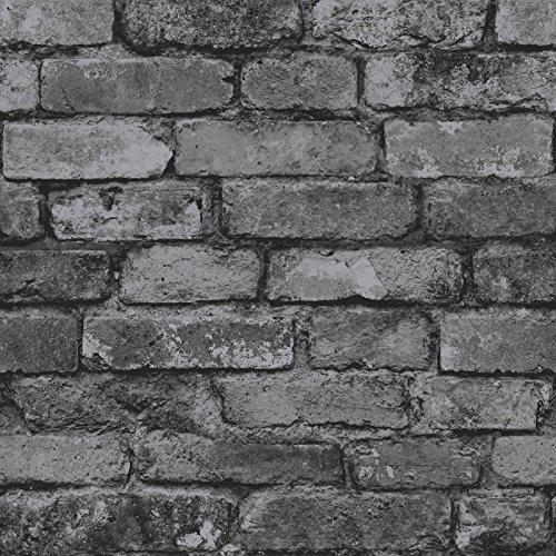 Fine Decor Charcoal Black / Silver Grey - Realistic - Fd31284 - Rustic Brick - Wallpaper (Charcoal Wallpaper)