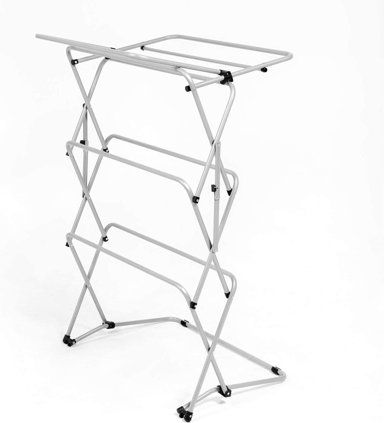 Zenree Foldable Clothes Drying Laundry Rack Clothing Scarves 3-Tier Metal Heavy Duty Stable Foling Laundry Rack for Bed Linen Silver Socks