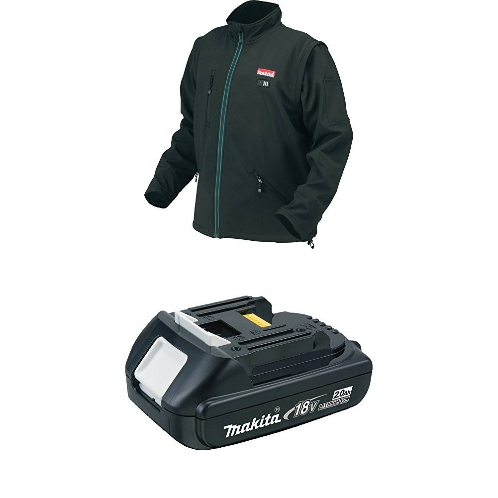 Makita DCJ200Z2XL 18V LXT Lithium-Ion Cordless Heated Jacket, Black, 2X-Large with BL1820 18V Compact 2.0AH Battery