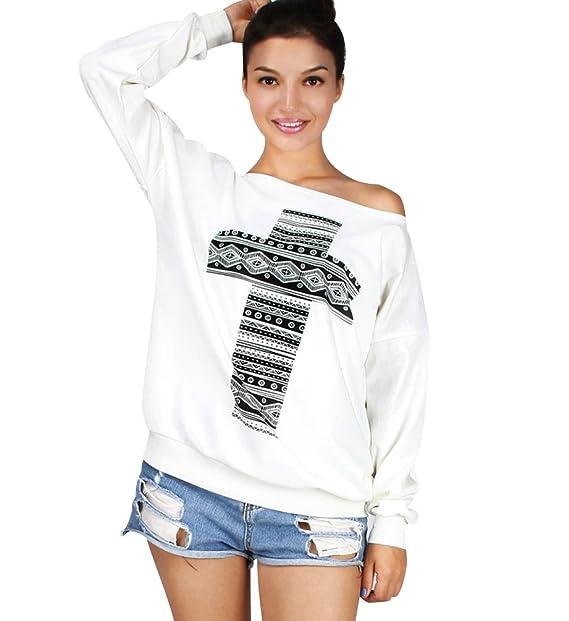 Sudaderas Mujer Sudadera Sin Hombros Estampadas Camisetas Manga Larga Sudaderas Oversize Sin Capucha Jerseys Pullover Cuello Redondo Top Juveniles Bonitas ...