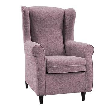 HOGAR TAPIZADO Butaca sillón orejero Nadia Tapizado en Microfibra Water Repellent Medidas:100 x 72 x 74 (Malva)