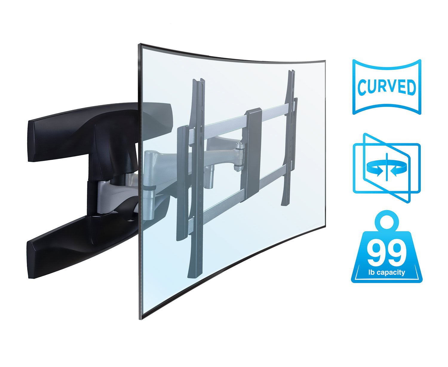 Mount-It! Full Motion Curved TV Wall Mount, Articulating Swivel Tilt Motion for 37'' to 70'' inch LCD LED OLED 4K Flat Panel Screens up to 99 lbs (MI-9464)
