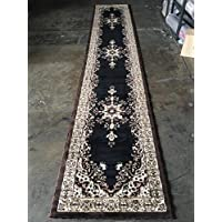 Traditional Long Runner Rug Oriental Black Persian Design #510 (31 Inch X15 Feet 8 Inch )