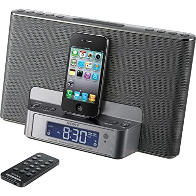 Sony Speaker Docking Station for Ipod and Iphone with Built in Dual Alarm Clock, Am/fm Radio, Remote, Plus 6ft Stereo Audio Cable to Connect Your Mp3 (Silver) by Sony