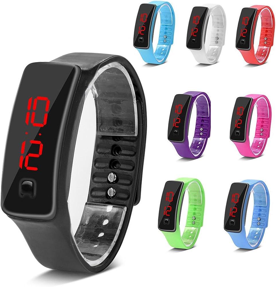 Sonew Relojes Deportivos Reloj de Pulsera led de Silicona Calendario de Tiempo Pulsera Pulsera Digital para Hombres de Las Mujeres Impermeable a Largo Tiempo de suspensión Ligero