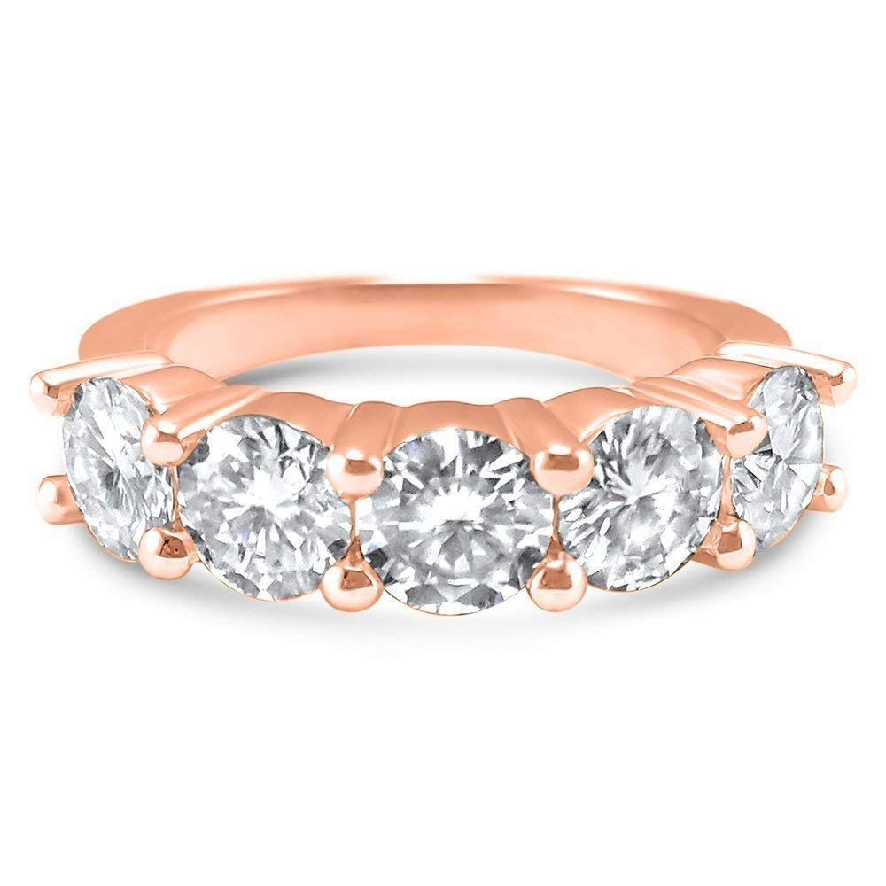 Gift for Women Moissanite Band Eternity Band Classic and Elegant Wedding Band Rose Gold Stacking Ring CZ Ring