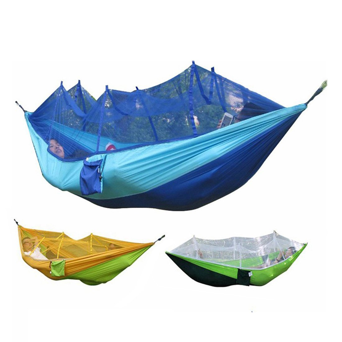 bestwareキャンプポータブル高強度パラシュート生地ハンモックHangingベッドwith Mosquito Net Sleeping Hammock B06XYJHJ5R  Blue & Navy Blue