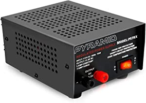 Universal Compact Bench Power Supply - 5 Amp Linear Regulated Home Lab Benchtop AC-to-DC 12V Converter w/ 13.8 Volt DC 115V AC 70 Watt Power Input, Screw Type Terminals, Cooling Fan - Pyramid PS7KX,BLACK