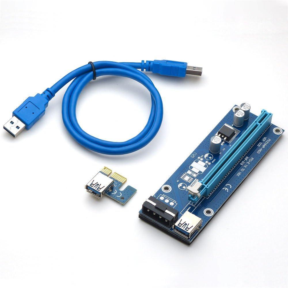 Senmubery PCI-E X1 una 4PCI-E X16 Kit De Expansi/óN 1 una 4 Puertos PCI Express Switch Multiplicador HUB 6Pin Sata USB Riser Card para BTC Miner Mining