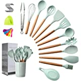 Spatula set, Kitchen Utensils Set, 16 pieces, Silicone Spatula set, Wooden Spoon, Wooden Utensils Tool for Nonstick…