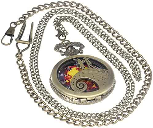 Nightmare Before Christmas Steampunk Pocket Watch Necklace Antique Men Women Pocket Watches Chain Vintage Quartz Clock Fob Watch 1 PC Necklace 1 PC Clip Key Rib Chain