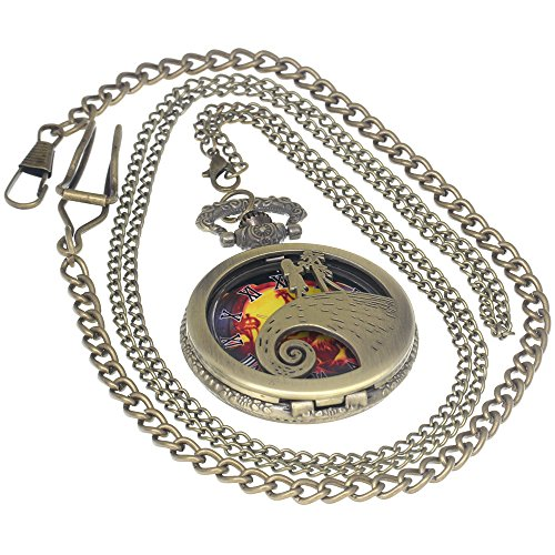 istmas Steampunk Pocket Watch Necklace Antique Men Women Pocket Watches Chain Vintage Quartz Clock Fob Watch 1 PC Necklace 1 PC Clip Key Rib Chain ()