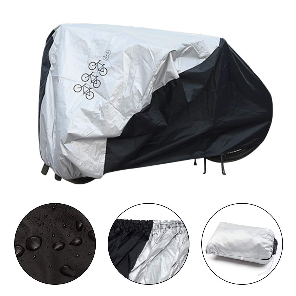 Bicycle Cover for 3 Bikes Waterproof Protector Dustproof and Sunscreen with PU Coating Large Size for 29\'\' Mountain Bike,Road Bikes and Electric Bike