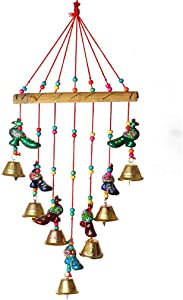 Colorful Peacock Windchaims Windchimes Jhoomar hanging for Home Door, Wall, Temple, Bedroom , Decorative Accessories for Party, Christmas decor , Wedding, Diwali Festivities Gift Size:- 20 Inch