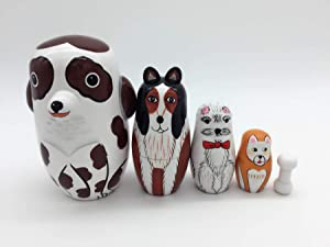 Handmade Dog Nesting Dolls 5pcs , Pieces Handmade Toys for Children Kids , Authentic Russian Wooden Matryoshka ,Christmas ,Valentine's Day ,Mother's Day ,Birthday ,Halloween ,Home Room Deco