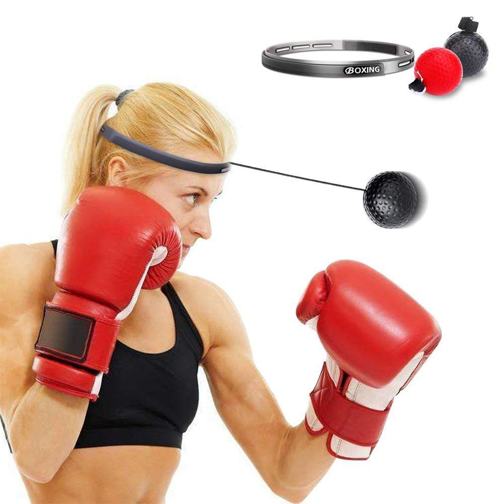 2 Difficulty Level Boxing Punch Ball with Adjustable Headband Training Speed Reactions Improve Hand Eye Coordination for Adult//Kids LoiStu Boxing Reflex Ball